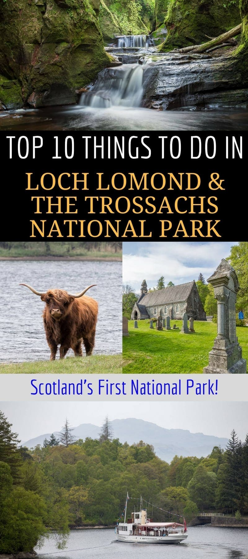 A guide to visiting Loch Lomond and the Trossachs National Park, Scotland's very first national park. Loch Lomond is a popular area for nature and outdoor seekers and makes an easy weekend or day trip from Glasgow or Edinburgh Scotland. We'll share the top things to do in Loch Lomond, where to stay, and how to plan your time. #LochLomond #Scotland #Glasgow