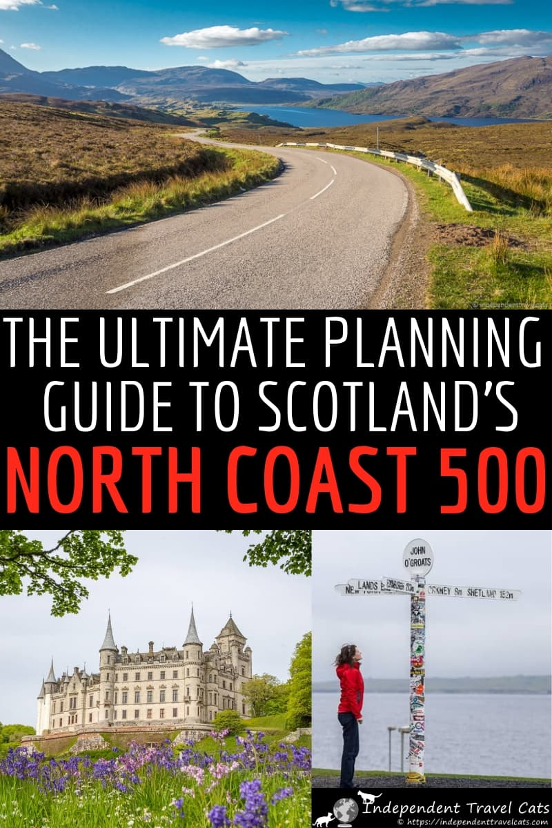 We've put together a comprehensive North Coast 500 guide to help you plan the perfect North Coast 500 road trip in Scotland. We'll explain the North Coast 500 route, what you can expect to see, the best time of year to plan a road trip, how many days you need to drive the NC500, suggestions on where to stay and eat along the route, what to pack, and tons of other tips and advice on driving the North Coast 500. #NorthCoast500 #NC500 #Scotland #roadtrip #Scotlandroadtrip #ScottishHighlands