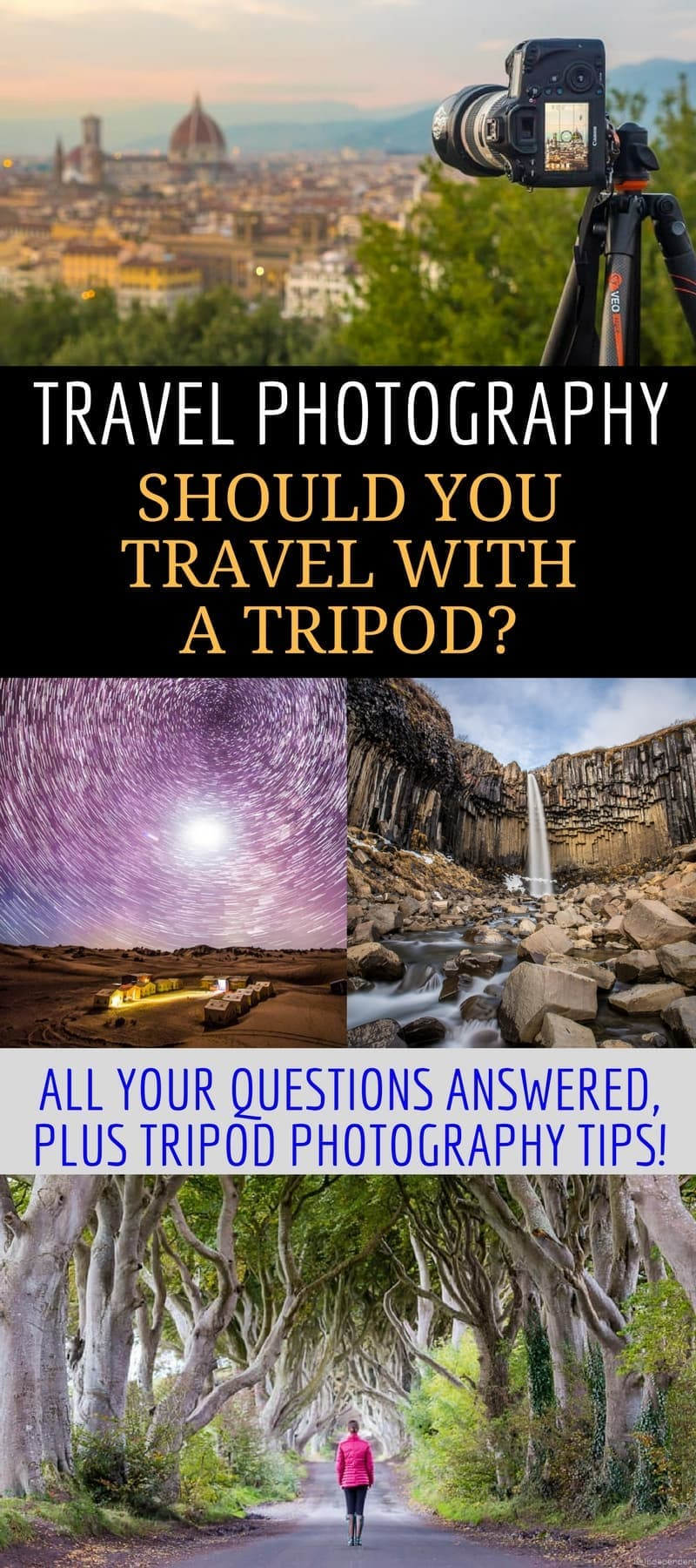 An Essential Guide to Travel Tripods. A travel tripod can help you take better vacation photos without a lot of effort. This travel photography article covers what a tripod does, how it can improve your photography, & what situations are best suited for a tripod. We also provide a list of recommended travel tripods to suit any budget & provide practical tips on traveling with a tripod.