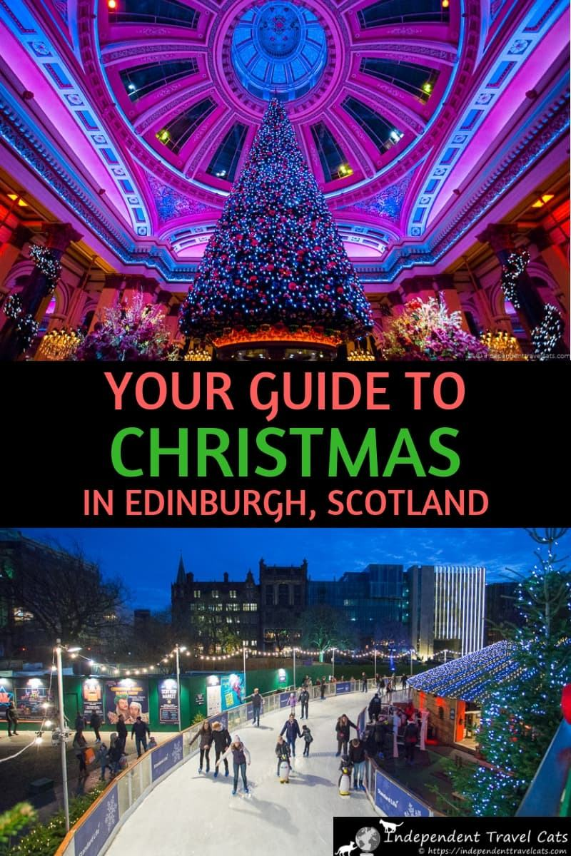 A guide to Christmas in Edinburgh Scotland from two people who live here. Our 15 favorite ways to spend Christmas in Edinburgh. We provide a helpful list of things to do in Edinburgh during December with a focus on holiday and Christmas events, such as Christmas markets, light trails, ice skating, shopping, concerts, church services, Santa visits, and more! #Edinburgh #EdinburghChristmas