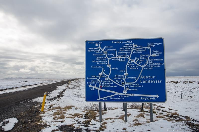 road signs driving in Iceland in winter tips during winter months
