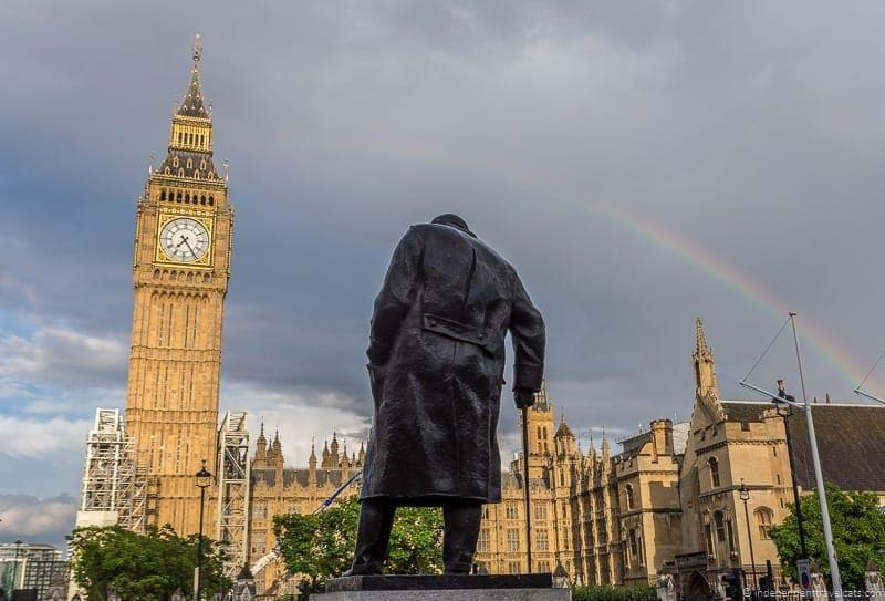 Parliament Square statue Winston Churchill in London sites attractions England UK
