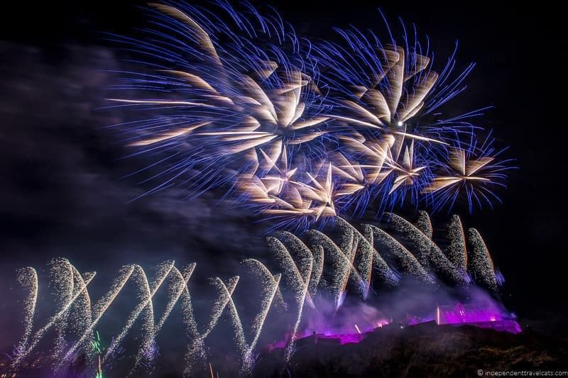 fireworks over castle Hogmanay in Edinburgh Scotland