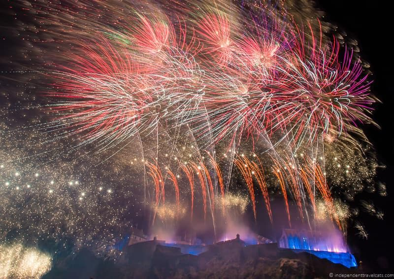 fireworks over castle Hogmanay in Edinburgh Scotland