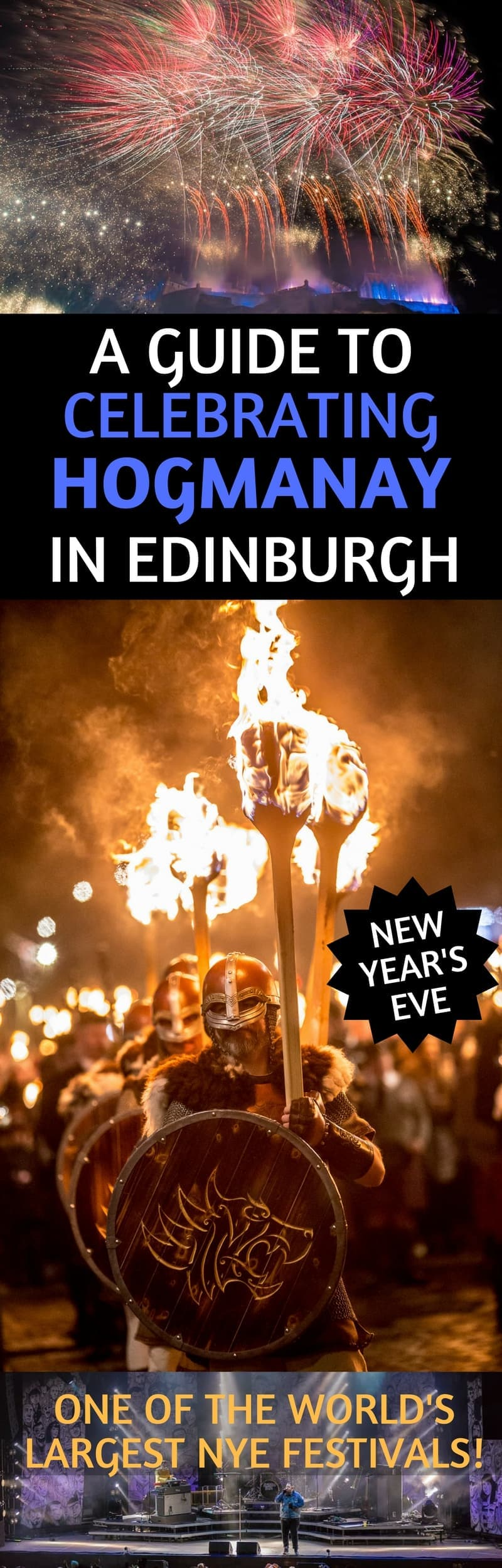 A guide to celebrating Hogmanay in Edinburgh Scotland, one of the largest New Year's Eve celebrations in the world! We live in Scotland & have attended Hogmanay several times, and we share our tips, advice, and break down the events day by day so you can get the most out of the festival and your trip to Edinburgh! #Hogmanay #Edinburgh #Scotland #festival #NYE #NewYearsEve
