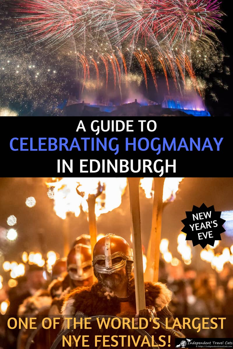 A guide to celebrating Hogmanay in Edinburgh Scotland, one of the largest New Year's Eve celebrations in the world! We live in Scotland & have attended Hogmanay several times, and we share our planning tips, advice, and break down the events day by day so you can get the most out of the festival and your trip to Edinburgh! #Hogmanay #Edinburgh #Scotland #festival #NYE #NewYearsEve