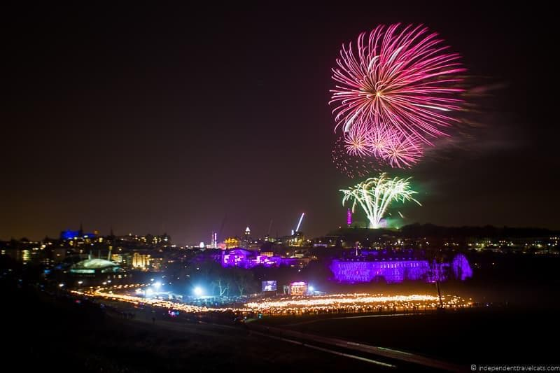 fireworks Hogmanay in Edinburgh Scotland