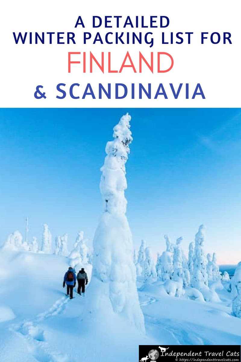 A Comprehensive Finland Packing List for winter - a complete guide to what to pack. Includes a printable packing checklist. Also works well for any cold weather destination including Scandinavia, Canada, Greenland, & Russia. #winterpackinglist #Finland #Finlandinwinter #wintertravel #Scandinavia #packinglist