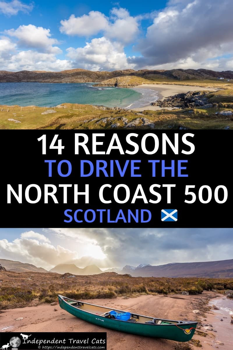 The North Coast 500 is Scotland's best road trip! After driving it several times ourselves, we present 14 of the top reasons to drive this route which include amazing wildlife, hiking, golfing, food, castles, whisky, and local hospitality! We also provide lots of resources & advice for planning your own North Coast 500 road trip! #NorthCoast500 #NC500 #Scotland #roadtrip #ScottishHighlands #Scotlandroadtrip
