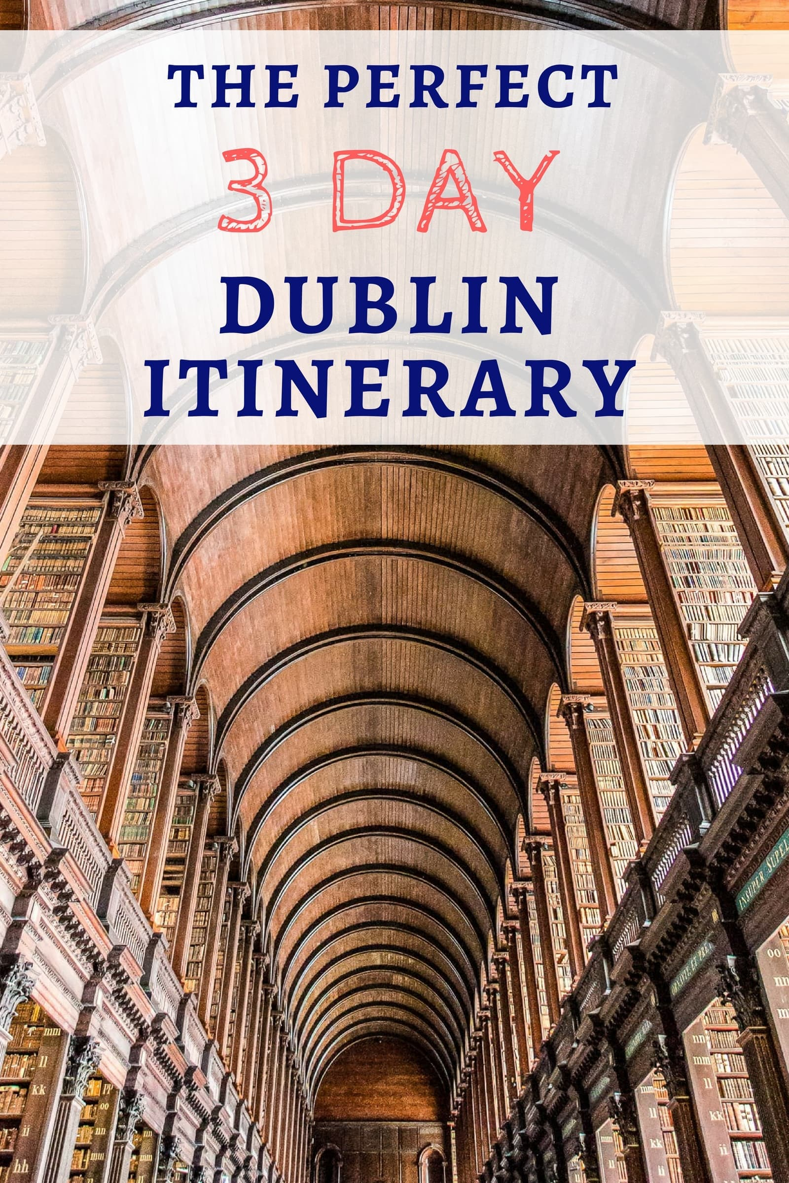 Our Dublin itinerary gives you day-by-day suggestions on how to spend 3 days in Dublin Ireland. Our Dublin itinerary includes all the main highlights of the city such as Trinity College and the Guinness Storehouse as well as a few lesser known sites. We also provide tips on how to get around Dublin, a map of each day's suggested attractions, tips on where to stay in Dublin, and how to save money during your 3 days in Dublin. #Dublin #DublinItinerary #Ireland #travel