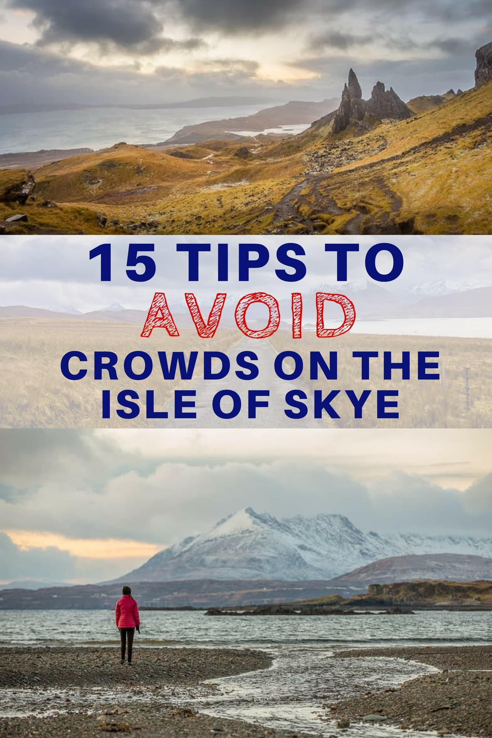 The Isle of Skye in Scotland is amazingly scenic but it can get very crowded, especially in the summer. We share 15 tips to help travelers avoid crowds on the Isle of Skye. Whether you are able to travel off season or need to travel during the busy summer months, our travel guide provides advice to help you avoid the crowds, get off the beaten path, and enjoy some peaceful moments on this beautiful island. #IsleofSkye #Scotland #travel #Scotlandtravel #Skye #ScottishIslands #ScottishHighlands