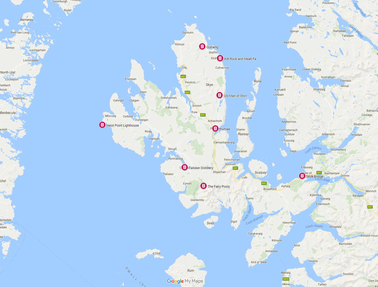 how to avoid crowds on the Isle of Skye map
