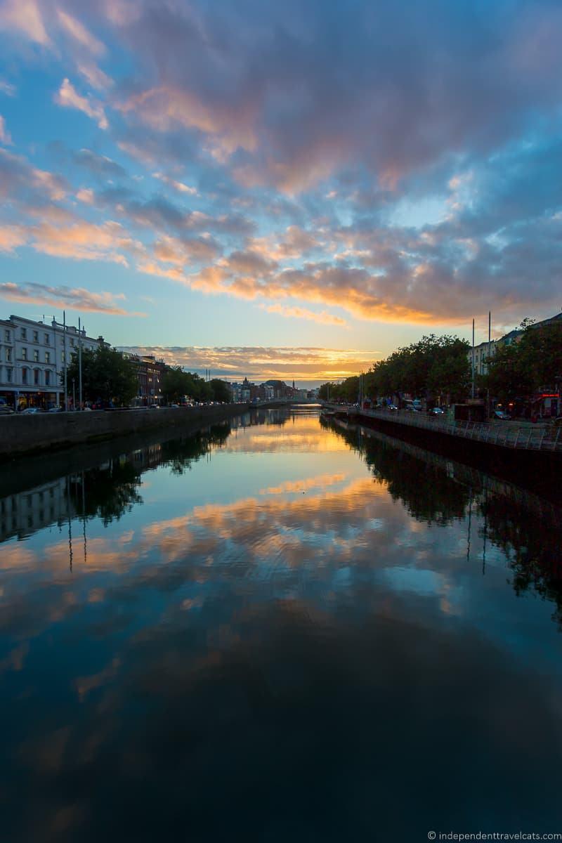 River Liffey sunset 3 days in Dublin itinerary Ireland