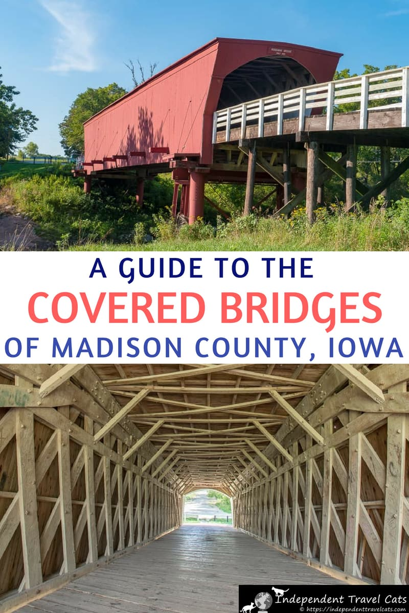 A detailed guide to visiting the six covered bridges of Madison County Iowa made famous by the novel and film The Bridges of Madison County. We also share information on visiting other filming locations as well as other area attractions around Winterset Iowa. #BridgesofMadisonCounty #Iowa #IowaTravel #MadisonCounty #MadisonCountyIowa #travel #coveredbridge #coveredbridges #RosemanBridge #CedarBridge #Winterset #filmlocations