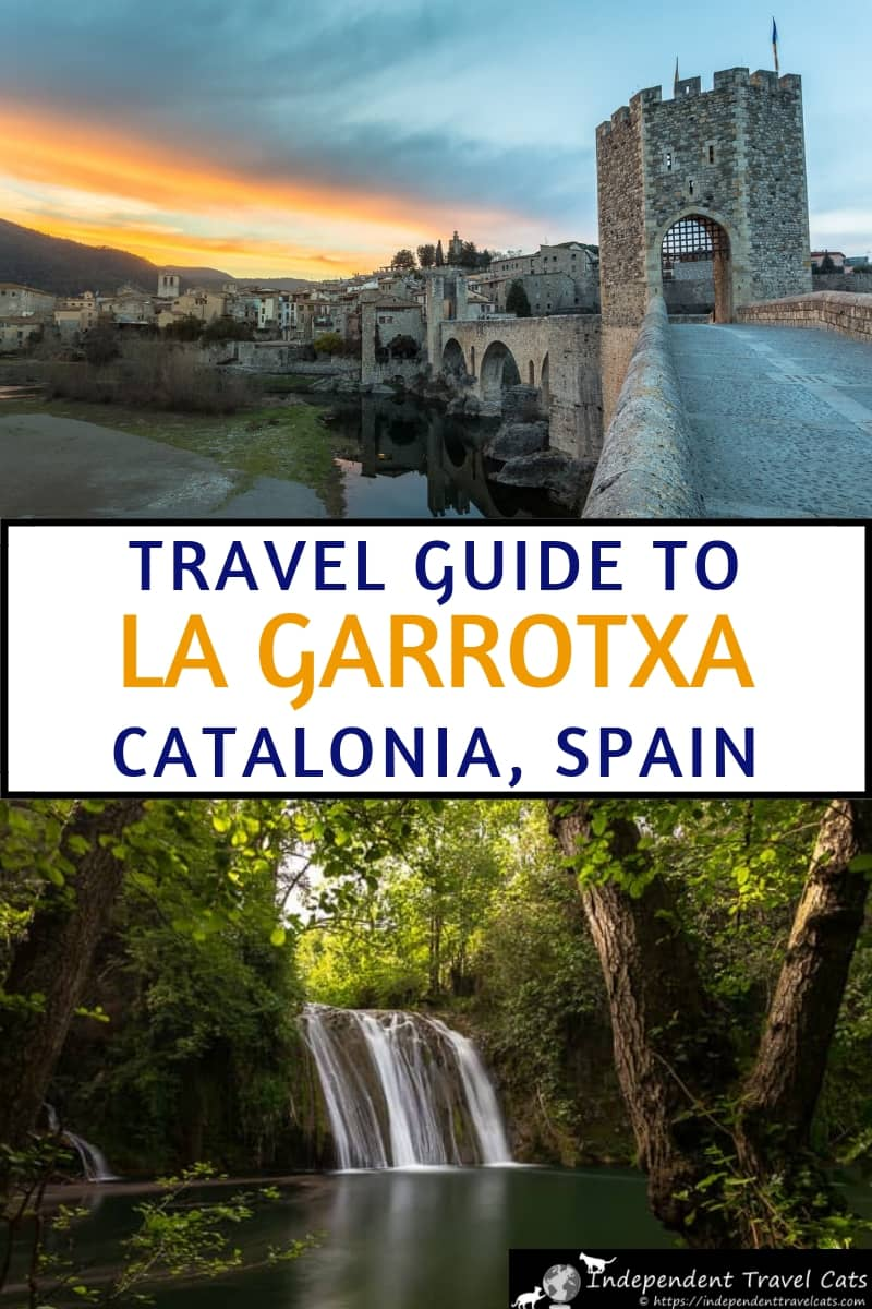 Our La Garrotxa travel guide provides information things to do in La Garrotxa, where to stay, and what to expect in this area of the Spanish Pyrenees within Catalonia Spain. La Garrotxa lies between the Pyrenees & the Costa Brava region in Spain. La Garrotxa is known for its well-preserved medieval villages, good food, hiking, cycling, Romanesque churches, and volcanic park containing 40 volcanoes. #LaGarrotxa #Catalonia #Cataluyna #Spain #travel #Besalu #Garrotxa #Olot #Pyrenees #Girona