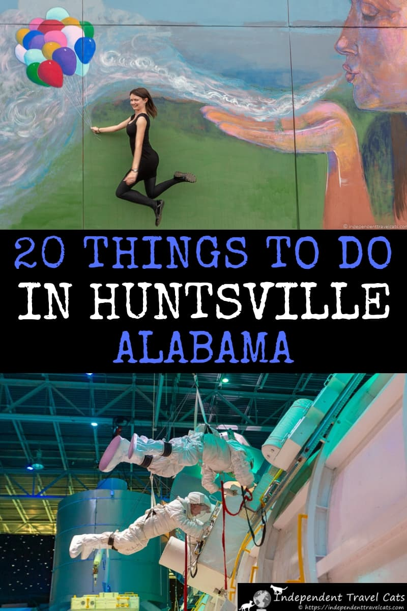 A detailed travel guide for visiting Huntsville Alabama, including the top 20 things to do in Huntsville Alabama. Includes information on how to get to Huntsville, how to get around, where to eat, where to stay, what to see in Huntsville. Also includes several ideas for taking local day trips from Huntsville to other places in Northern Alabama and Tennessee. #Huntsville #HuntsvilleAL #Alabama #HuntsvilleAlabama #spacetourism #travel #usatravel