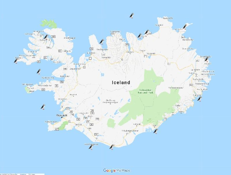 puffins in iceland map