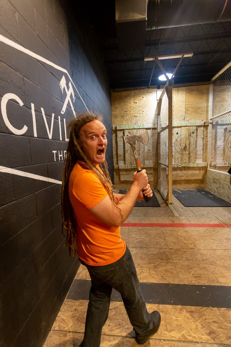 axe throwing ax top things to do in Huntsville Alabama