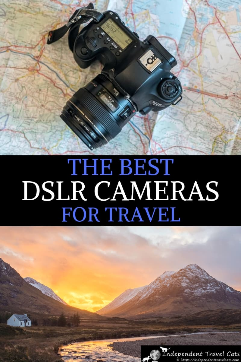A guide to the best DSLR cameras for travel at every price point. We'll help you decide if a digital SLR camera is a good choice for you, provide advice on how to choose the best DSLR camera, and share a list of the best DSLR cameras currently available for any budget. We also give some tips on how to make the most of your new DSLR camera. #travelcamera #travelphotography #travel #DSLRcamera #SLRcameras #photography #DSLR #cameras