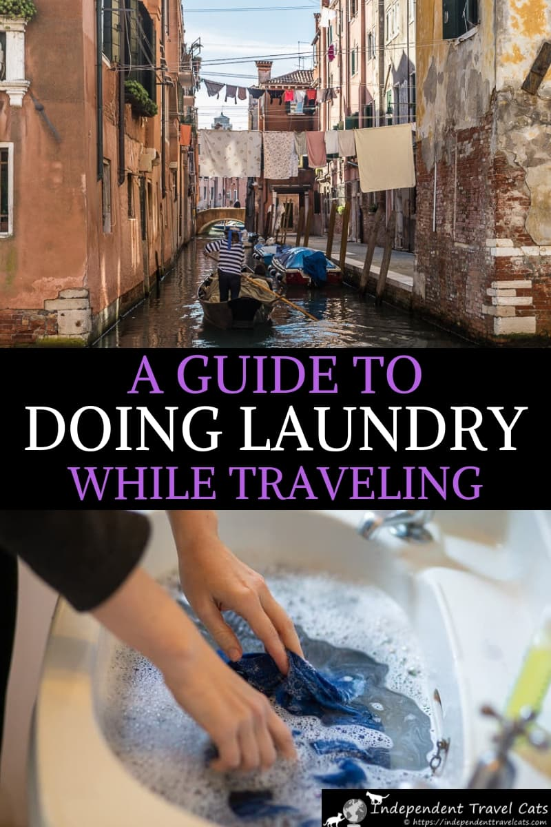 A practical guide to how to do laundry while traveling which covers washing clothing while traveling for all budgets, whether you are a backpacker or luxury traveler. Includes several options from hotel services to laundromats to hand washing in the hotel sink to camping and Rving. We also items for your travel laundry kit to make washing clothes easier to do on the road. #laundrywhiletraveling #travellaundry #travelwashingbag #travellaundrykit #laundry #washingclothes #travel #traveltips