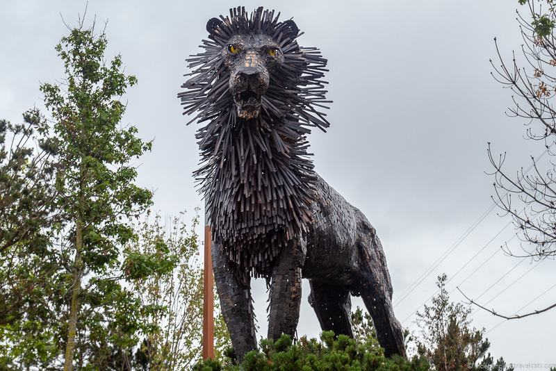 Aslan statue C.S. Lewis Square Narnia statues things to do in Belfast Northern Ireland travel guide