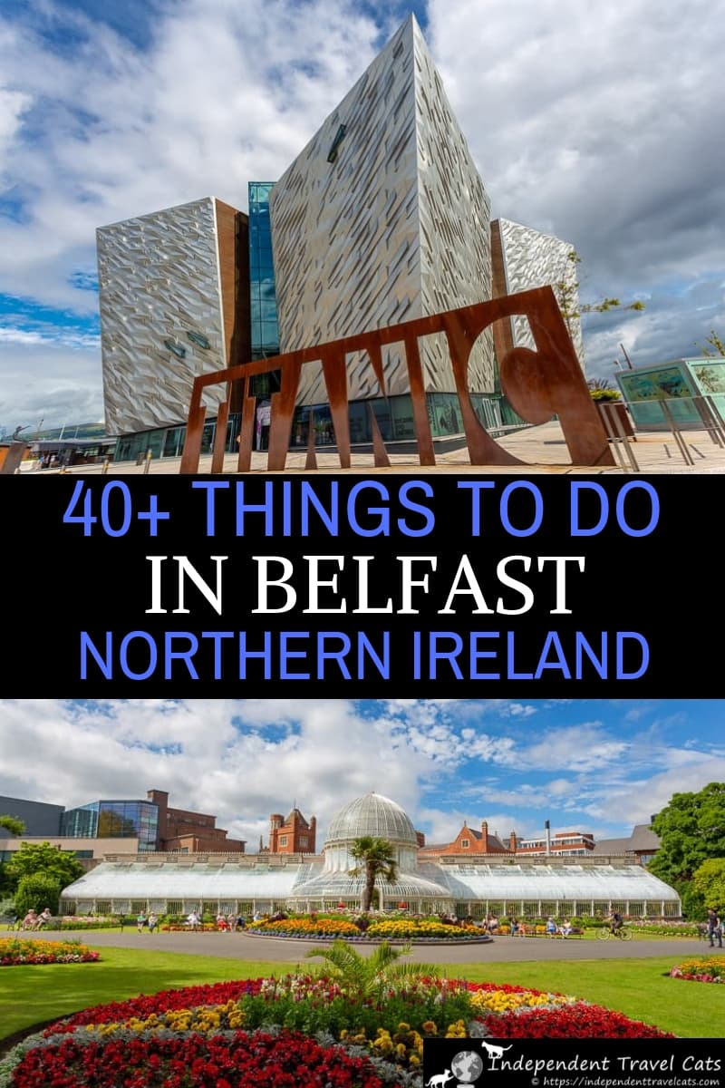 A travel guide to the top things to do in Belfast Northern Ireland as well as suggestions on getting around, where to stay, and day trip ideas. Belfast is probably best known for Belfast Titanic (Titanic museum), street murals, and The Troubles, but there is a lot to do and see in Belfast. It also has a lively historic city center, the famous Titanic Quarter, fun pubs, excellent museums, beautiful gardens, and Victorian architecture. #Belfast #NorthernIreland #Belfasttravel #Titanic #travel