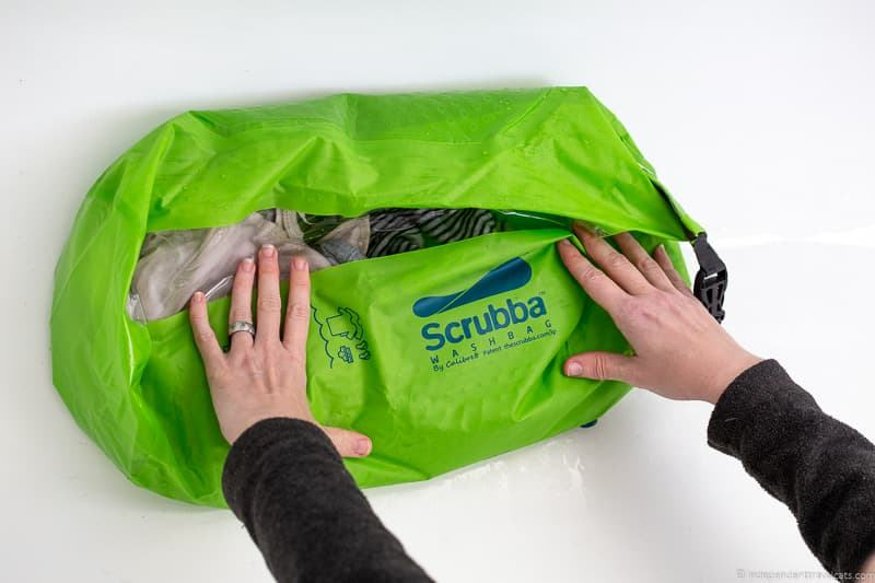 Scrubba travel washing bag doing laundry while traveling travel laundry tips