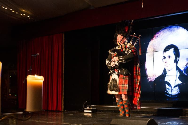 piper bagpipe Robert Burns Supper where to celebrate Burns Night in Scotland
