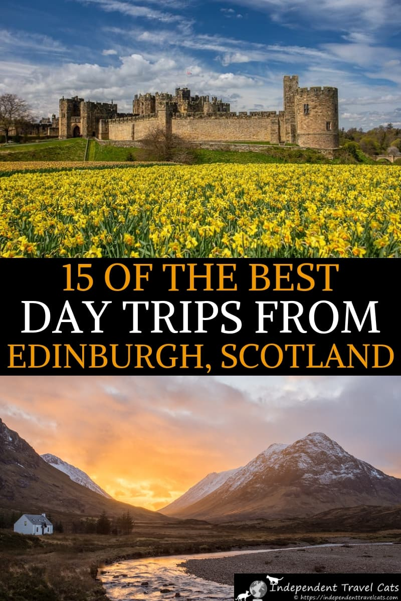 Our guide to the best day trips from Edinburgh Scotland, which range from exploring castles to touring whisky distilleries to visiting Outlander filming locations. We suggest 15 day trips from Edinburgh which include Glasgow, Rosslyn Chapel, Loch Ness, and Glencoe. For each Edinburgh day trip idea, we provide all the information you need about how to plan the day trip from Edinburgh, from how to get there to things you can do there. #Edinburgh #Scotland #Edinburghdaytrips #daytrips #travel