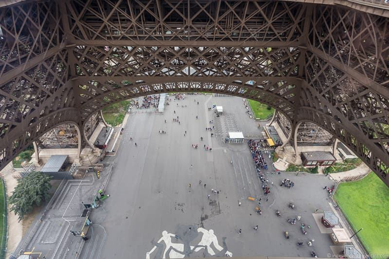 view of the Eiffel Tower Esplanade from the 1st floor Guide to Visiting the Eiffel Tower in Paris France Eiffel Tower tips