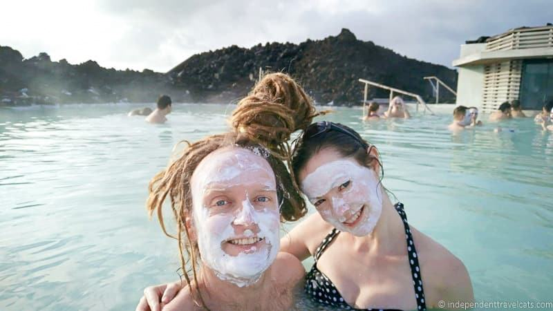 couple with silica mud face masks Blue Lagoon comprehensive guide to visiting the Blue Lagoon in Iceland Blue Lagoon tips and advice