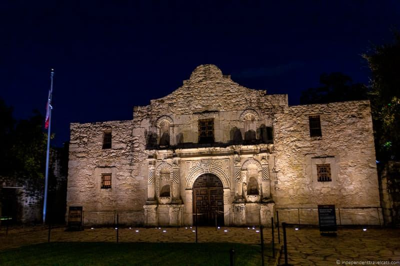 The Alamo at night evening A guide to visiting The Alamo in San Antonio Texas San Antonio Missions National Historical Park