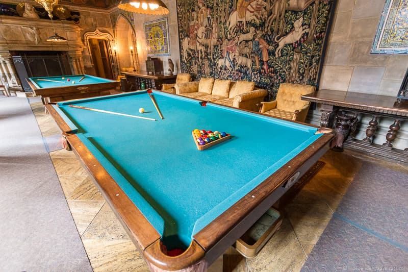 Billiard Room pool table Hearst Castle San Simeon California Central Coast American Castle William Randolph Hearst home La Cuesta Encantada