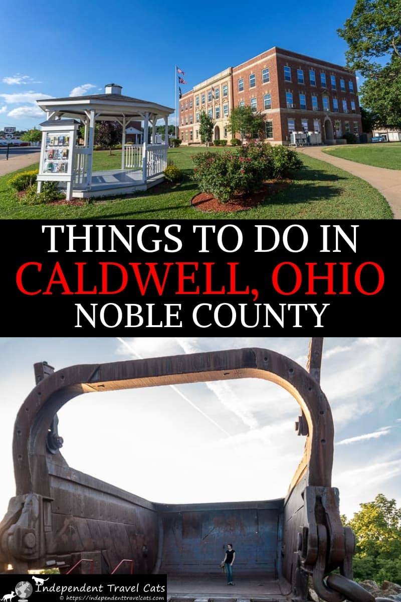 A travel guide to things to do in Caldwell Ohio and Noble County Ohio from a local. Provides travel information on how to get to Caldwell, what to do, where to eat, and where to stay. Covers the Old Town Jail, Baker Glass Museum, Thorla-McKee Oil Well, Big Muskie, Caldwell-Ball House, Noble County Fair, St. Mary's Church, Johnny Appleseed Memorial, Wolf Run State Park, U.S.S. Shenandoah memorials, The Wilds, covered bridges, & more. #Caldwell #CaldwellOhio #Ohio #NobleCounty #travel #Ohiotravel