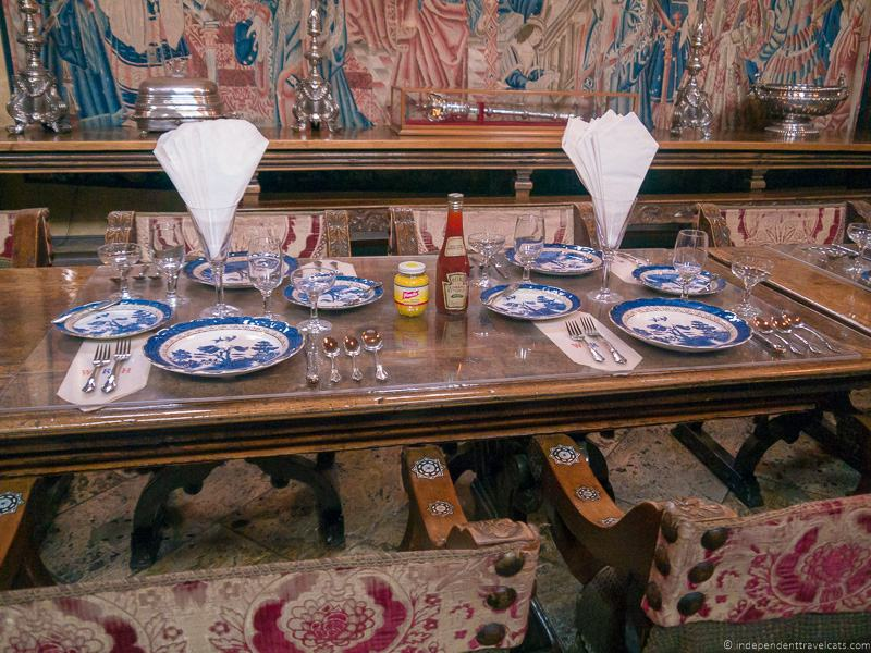 table setting ketchup paper napkins The Refectory Dining Room Hearst Castle San Simeon California Central Coast American Castle William Randolph Hearst home La Cuesta Encantada