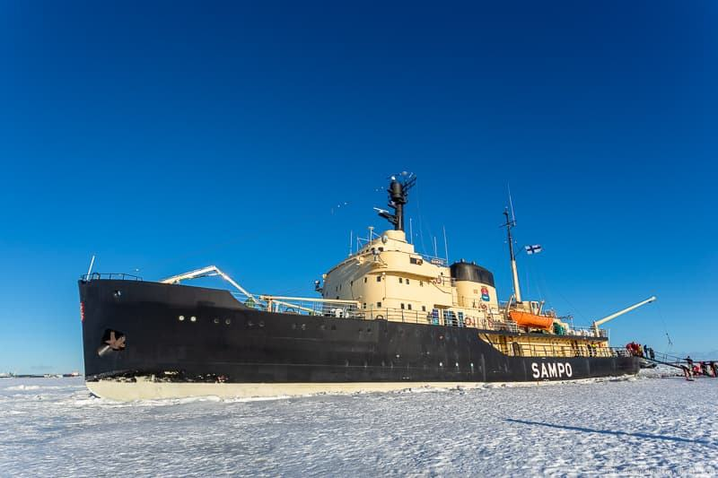 Icebreaker Sampo boat Kemi icebreaker boat Finland winter activities things to do in winter in Finland