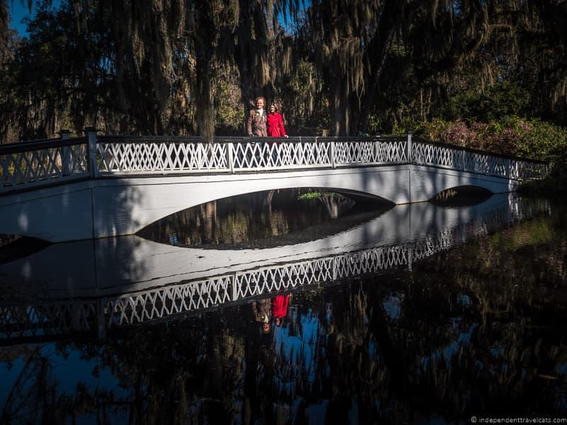 couple white bridge Magnolia Plantation and Gardens Charleston plantations guide South Carolina plantation tours