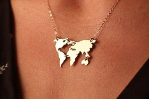 world map necklace travel jewelry jewelry for travelers travel themed jewelry jewellery for travellers