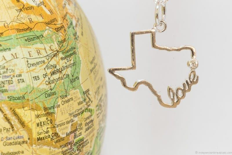 Texas necklace travel themed jewelry jewellery travel gift guide best gifts for travelers traveler gift ideas