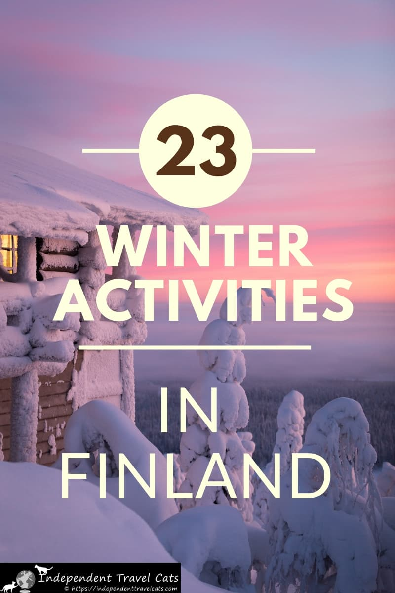 Our guide to visiting Finland in winter will help you decide when to go, what to do, and what to see. We share our favorite winter activities that include Northern Lights hunting, husky sledding, skiing, ice floating, meeting Santa Claus, ice-karting, & taking a ride on an icebreaker boat. We also recommend lodging options that include ice hotels, snow hotels, glass igloos, & real igloos. Plan your special winter trip to Finland! #Finland #Finlandinwinter #wintertravel #Christmastravel #travel