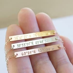 coordinates necklace travel jewelry jewelry for travelers travel themed jewelry jewellery for travellers