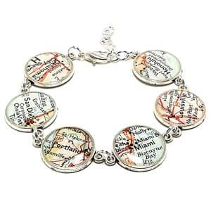 custom map bracelet travel jewelry jewelry for travelers travel themed jewelry jewellery for travellers