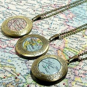 custom map locket travel jewelry jewelry for travelers travel themed jewelry jewellery for travellers