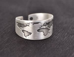 oxidized world map ring travel jewelry jewelry for travelers travel themed jewelry jewellery for travellers