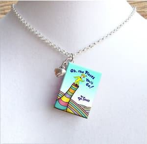 tiny book necklace travel jewelry jewelry for travelers travel themed jewelry jewellery for travellers