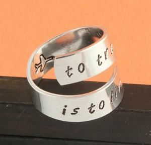 handstamped silver traveler ring travel jewelry jewelry for travelers travel themed jewelry jewellery for travellers