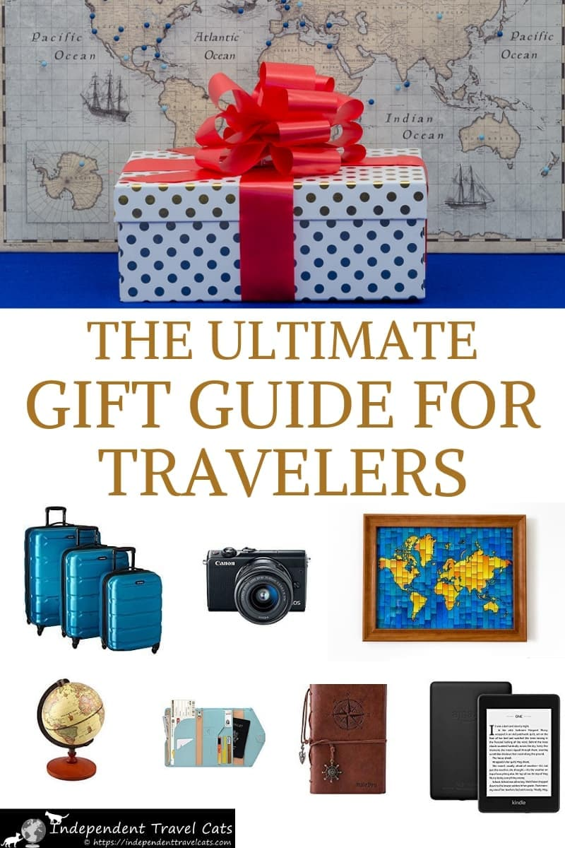 The ultimate travel gift guide with over 75 gift ideas for travelers suitable for all budgets, travel styles, and occasions chosen by full-time travelers. We provide travel-related gift suggestions to fit almost any gifting situation and also provide tips on how to choose the perfect gift for your friends and loved ones. This is a perfect holiday gift guide for the travel lover in your life! #travegiftguide #travelergifts #gifts #traveler #traveller #travel #giftguide #holidaygiftguide