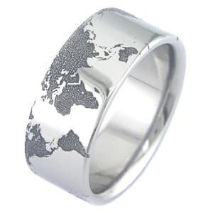 world map titanium ring travel jewelry jewelry for travelers travel themed jewelry jewellery for travellers