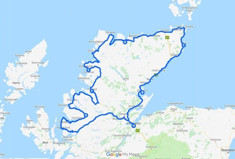 7 Day North Coast 500 Itinerary Map - 1 week NC500 route itinerary