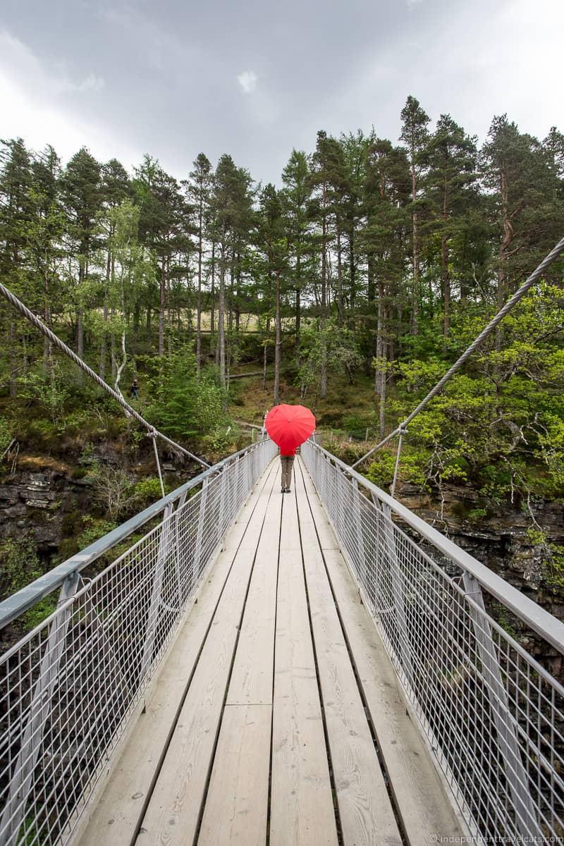 Corrieshalloch Gorge suspension bridge North Coast 500 itinerary Scotland